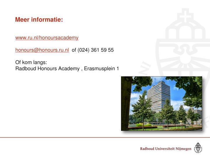Meer informatie: