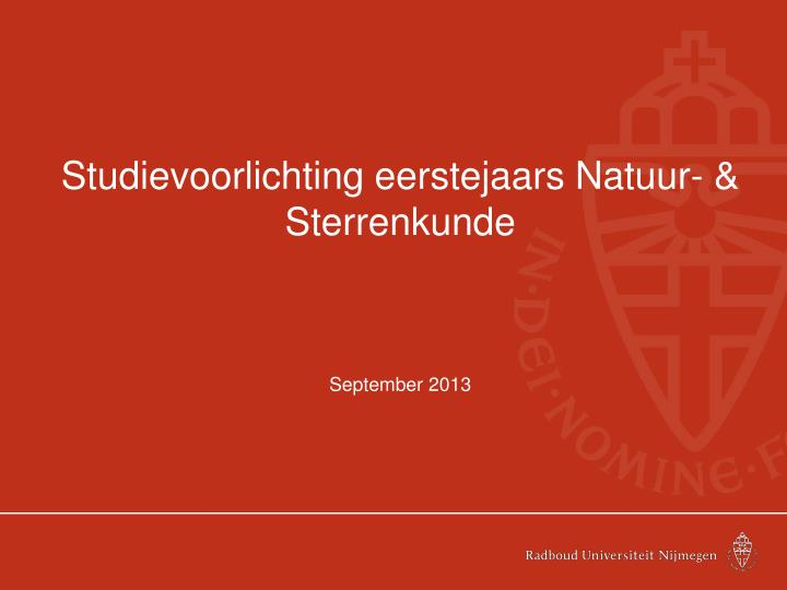 Studievoorlichting eerstejaars Natuur- & Sterrenkunde