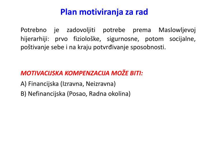 Plan motiviranja za rad