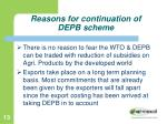reasons for continuation of depb scheme6