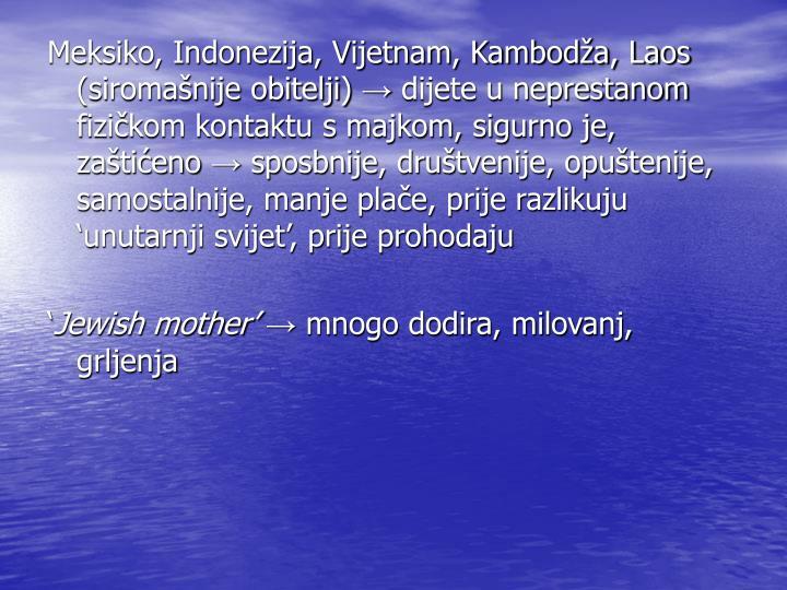 Meksiko, Indonezija, Vijetnam, Kambodža, Laos (siromašnije obitelji)