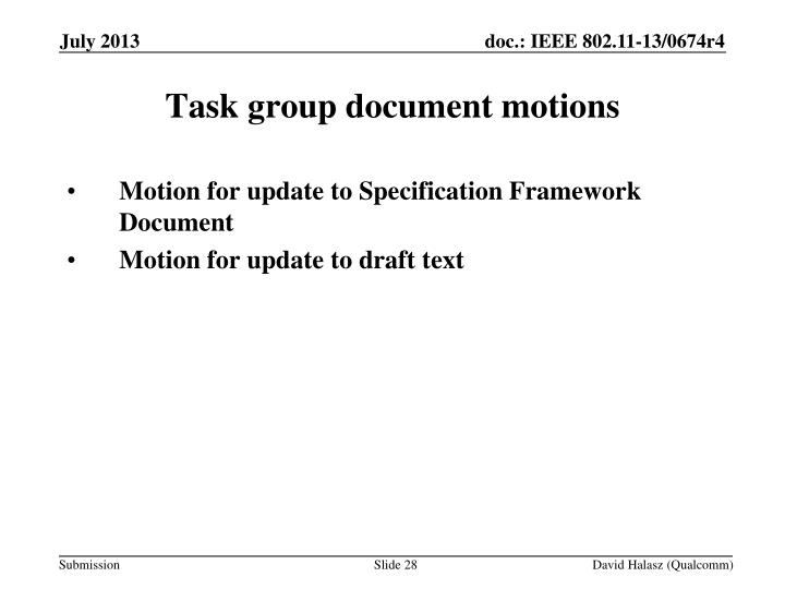 Motion for update to Specification Framework Document
