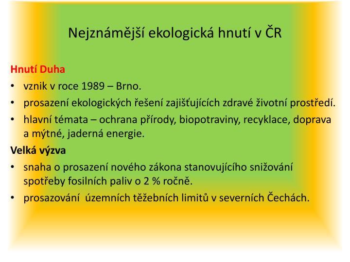 Nejznámější ekologická hnutí v ČR