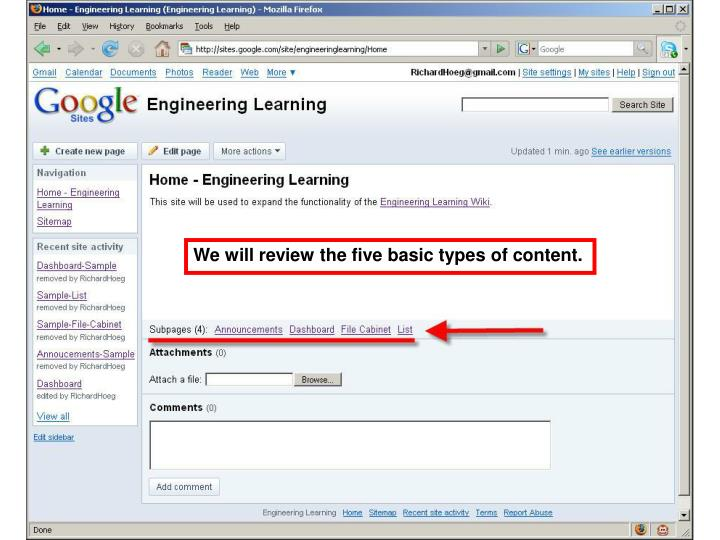 We will review the five basic types of content.