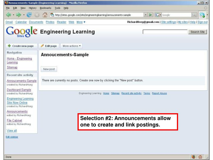 Selection #2: Announcements allow one to create and link postings.