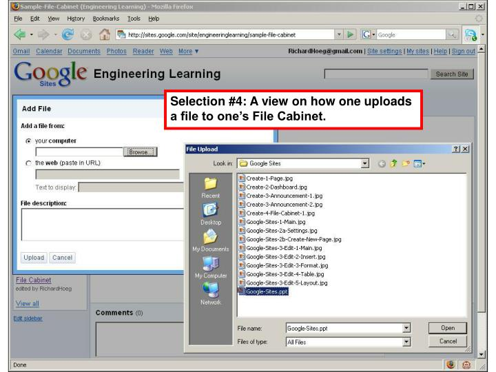 Selection #4: A view on how one uploads a file to one's File Cabinet.