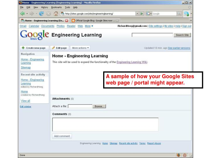 A sample of how your Google Sites web page / portal might appear.