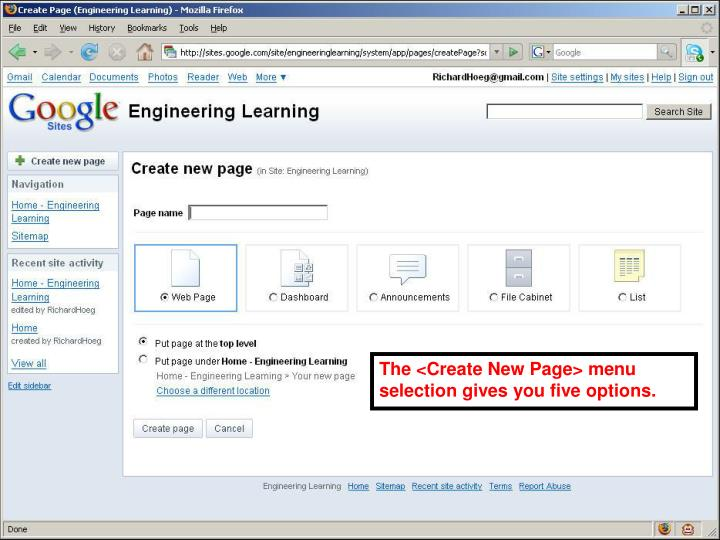The <Create New Page> menu selection gives you five options.