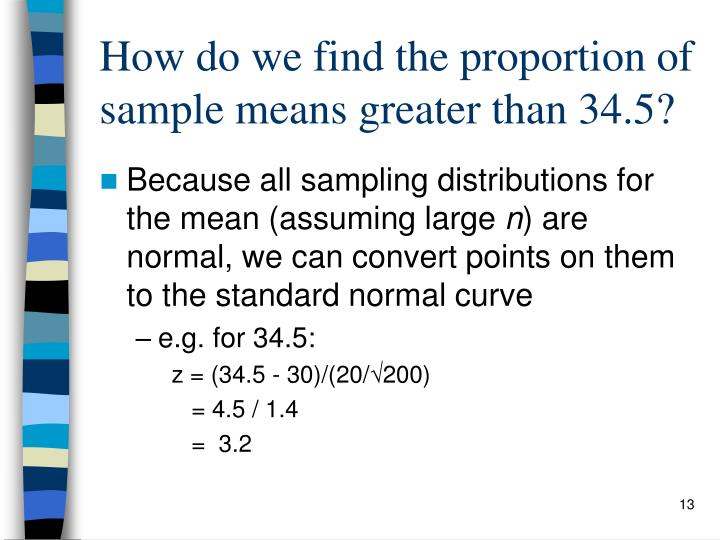 How do we find the proportion of sample means greater than 34.5?