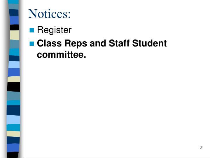Notices: