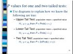 p values for one and two tailed tests