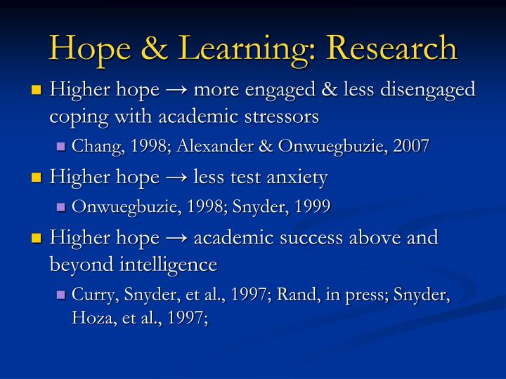Hope & Learning: Research