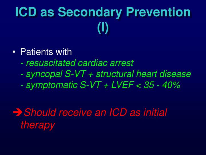 ICD as Secondary Prevention (I)