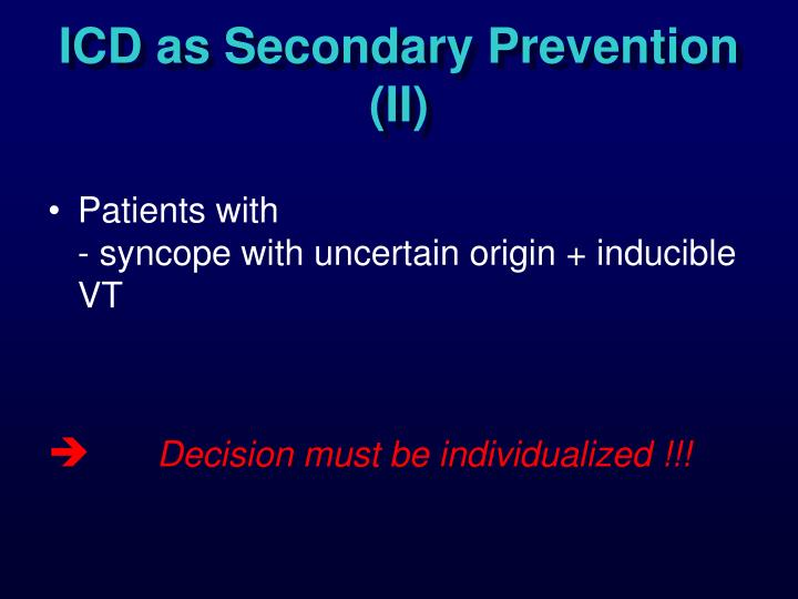 ICD as Secondary Prevention (II)