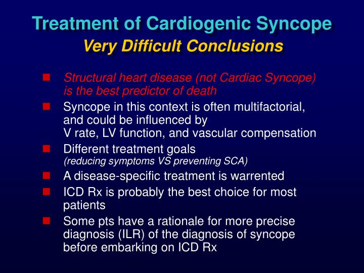 Treatment of Cardiogenic Syncope