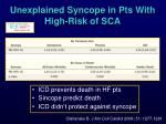 unexplained syncope in pts with high risk of sca