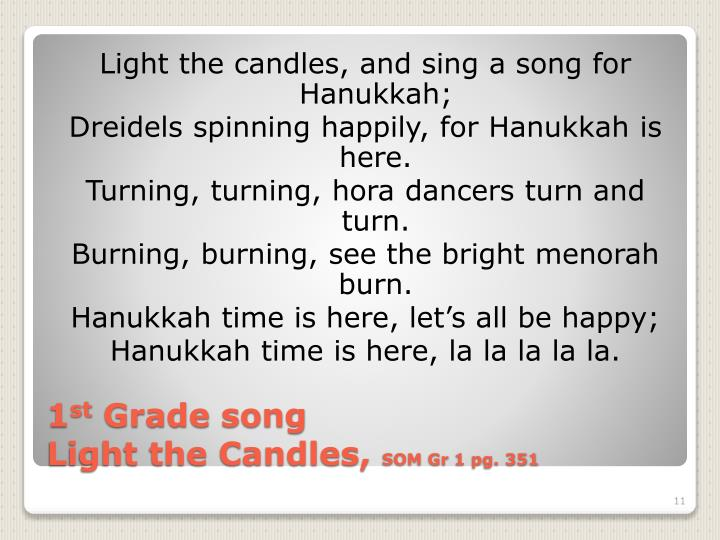 Light the candles, and sing a song for Hanukkah;