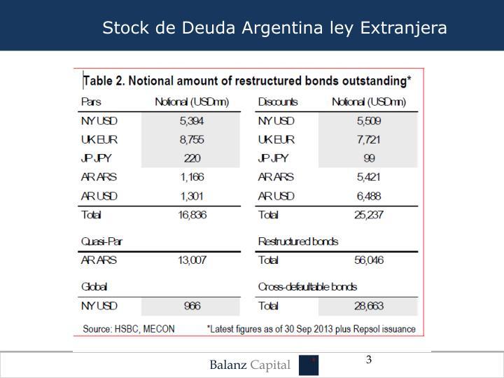 Stock de Deuda Argentina ley Extranjera
