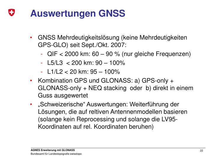 Auswertungen GNSS