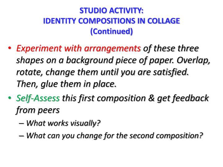 STUDIO ACTIVITY: