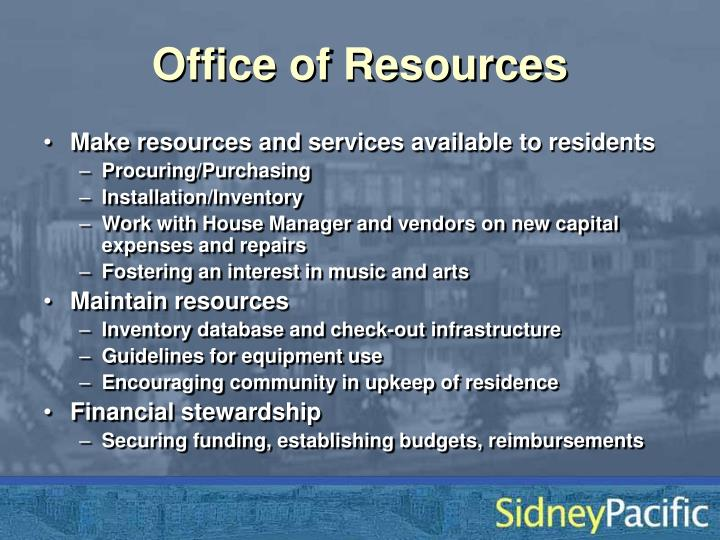 Office of Resources