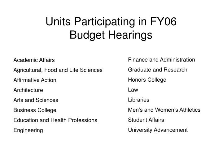 Units Participating in FY06 Budget Hearings