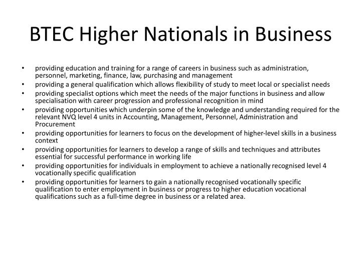 BTEC Higher Nationals in Business