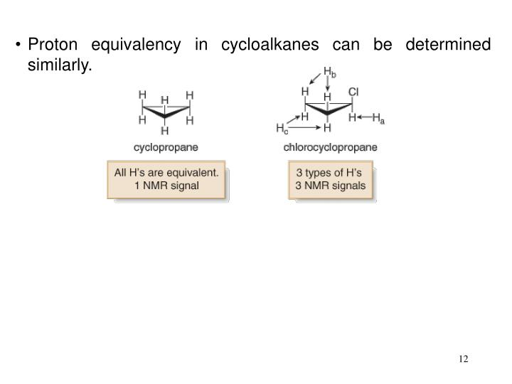 Proton equivalency in cycloalkanes can be determined similarly.