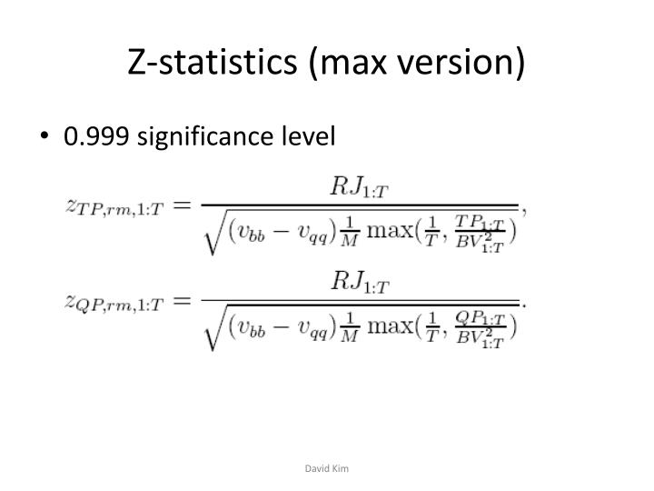 Z-statistics (max version)