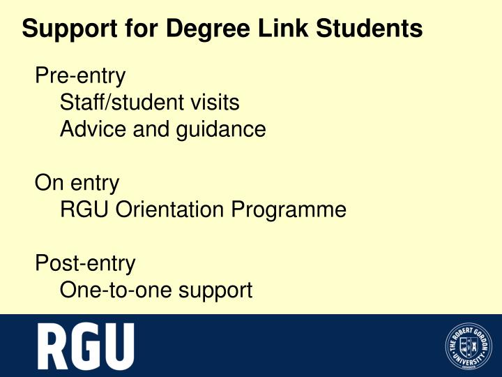 Support for Degree Link Students