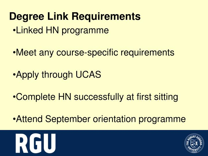 Degree Link Requirements