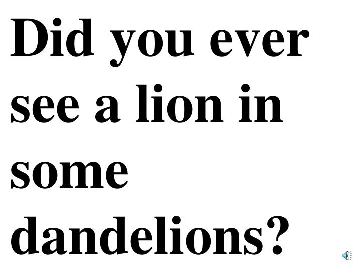 Did you ever see a lion in some dandelions?