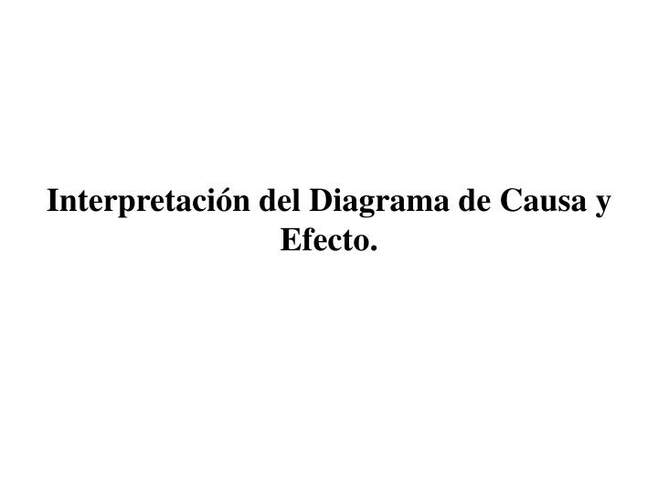 Interpretacin del Diagrama de Causa y Efecto.