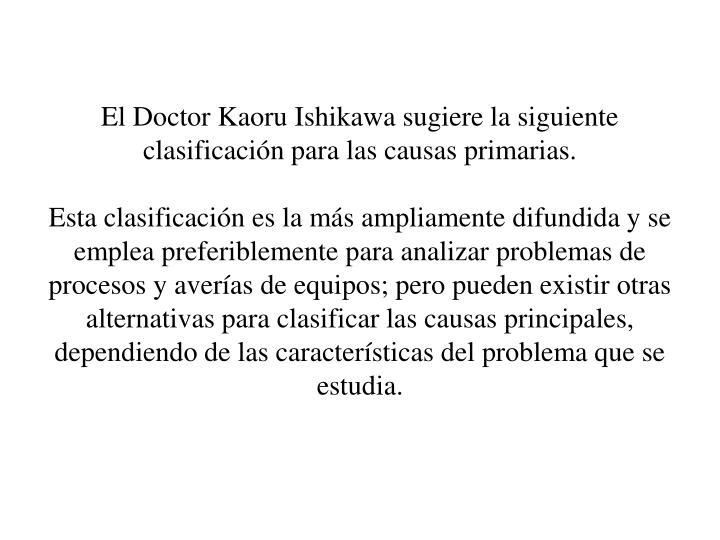 El Doctor Kaoru Ishikawa sugiere la siguiente clasificacin para las causas primarias.