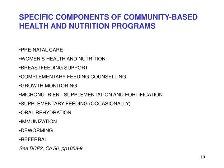 SPECIFIC COMPONENTS OF COMMUNITY-BASED HEALTH AND NUTRITION PROGRAMS