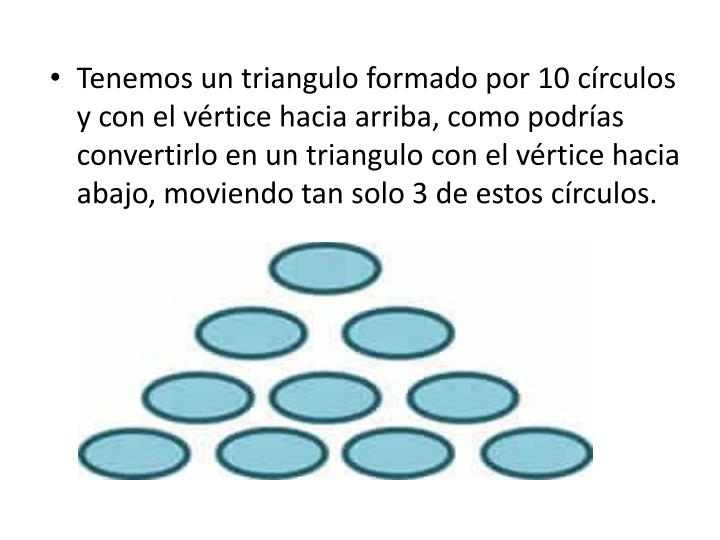 Tenemos un triangulo formado por 10
