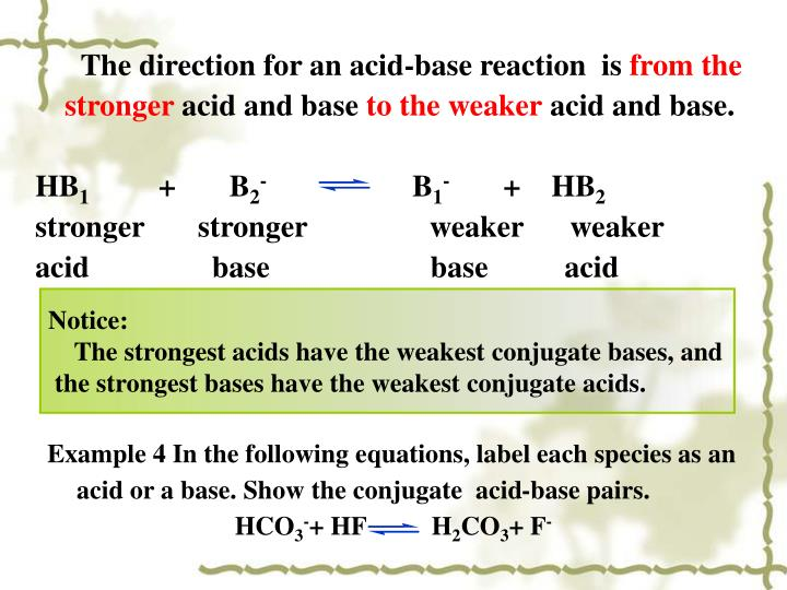 The direction for an acid-base reaction  is