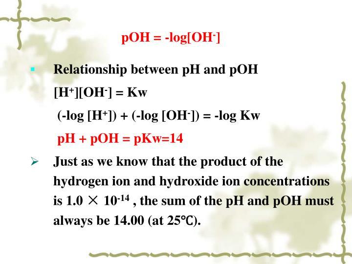 pOH = -log[OH