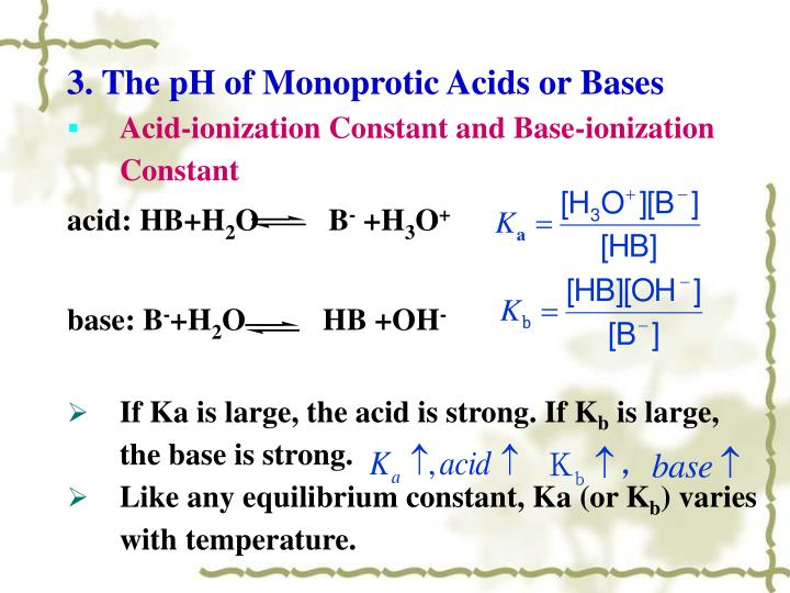 3. The pH of Monoprotic Acids or Bases