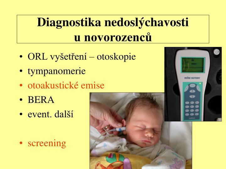 Diagnostika nedoslýchavosti