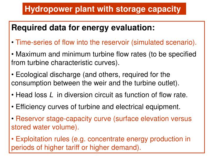 Hydropower plant with storage capacity