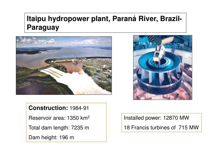 Itaipu hydropower plant, Paraná River, Brazil-Paraguay