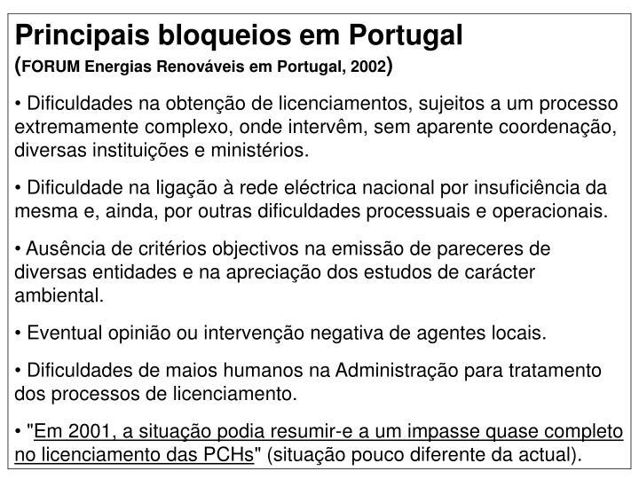 Principais bloqueios em Portugal