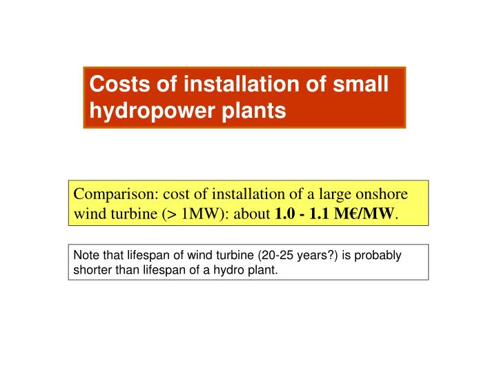 Costs of installation of small hydropower plants