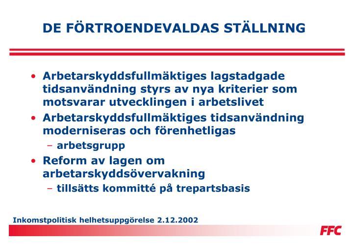 DE FÖRTROENDEVALDAS STÄLLNING