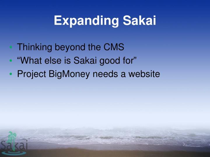 Expanding Sakai