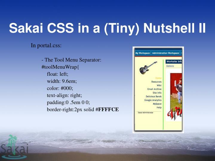Sakai CSS in a (Tiny) Nutshell II