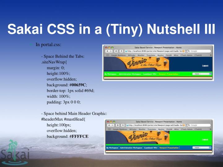 Sakai CSS in a (Tiny) Nutshell III