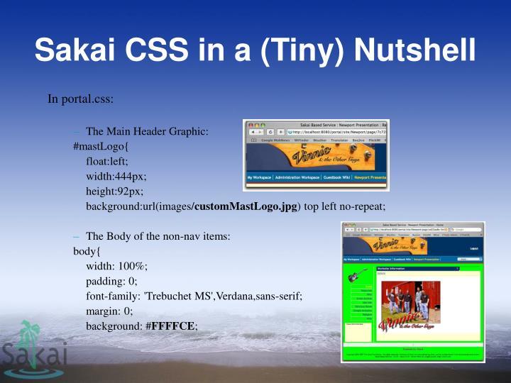 Sakai CSS in a (Tiny) Nutshell