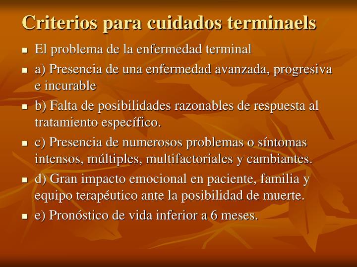 Criterios para cuidados